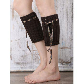 Casual Ethnic Lace-Up Reeved Knitted Boot Cuffs - CHOCOLATE CHOCOLATE