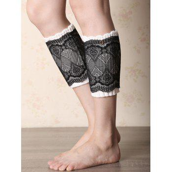 Buy Casual Button Double-Deck Lace Knitted Boot Cuffs WHITE