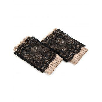 Casual Button Double-Deck Lace Knitted Boot Cuffs -  KHAKI