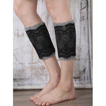 Casual Button Double-Deck Lace Knitted Boot Cuffs - GRAY GRAY