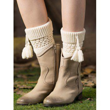 Casual Tassel Pendant Flanging Knitted Boot Cuffs