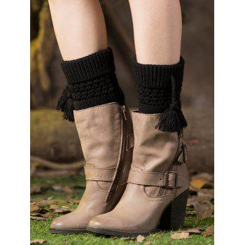 Casual Tassel Pendant Flanging Knitted Boot Cuffs - BLACK BLACK