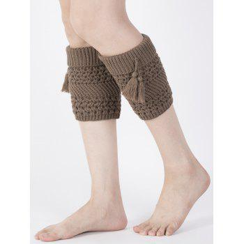 Casual Tassel Pendant Flanging Knitted Boot Cuffs - COFFEE COFFEE