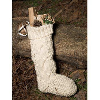 Casual Flanging Hemp Flowers Knitted Christmas Supplies Decorative Sock - WHITE WHITE
