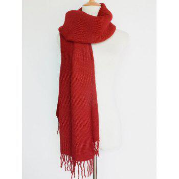 Casual Pleated Tassel Long Scarf