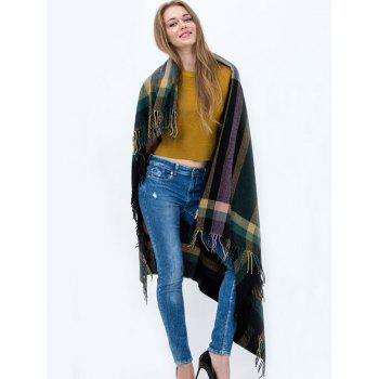 Casual Plaid Pattern Tassel Big Square Scarf