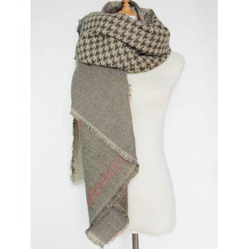 Casual Plaid and Houndstooth Pattern Fringed Big Square Scarf