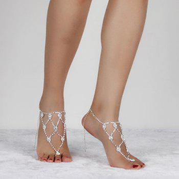 Rhinestone Tiered Anklets -  SILVER