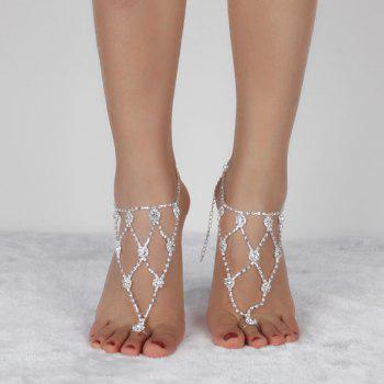 Rhinestone Tiered Anklets - SILVER SILVER