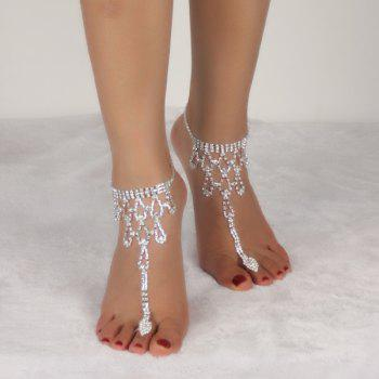 Teardrop Rhinestone Toe Ring Anklet