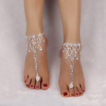 Teardrop Rhinestone Toe Ring Anklet - SILVER WHITE