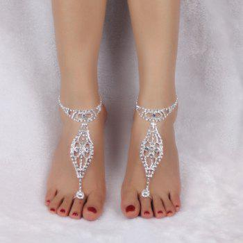 Rhinestoned Geometric Toe Ring Anklet -  SILVER WHITE