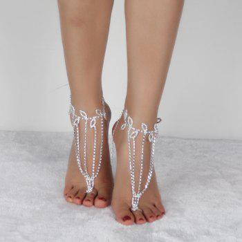 Feuille Layered Anklets - Blanc Argent