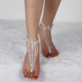 Leaf Layered Toe Ring Anklet -  SILVER WHITE