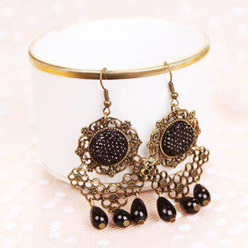 Rhinestone Floral Teardrop Earrings - BLACK