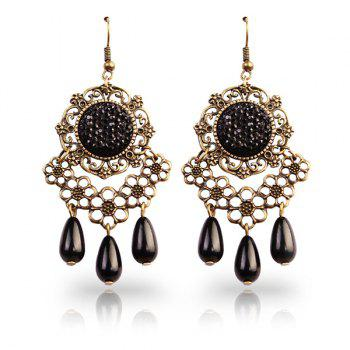 Rhinestone Floral Teardrop Earrings
