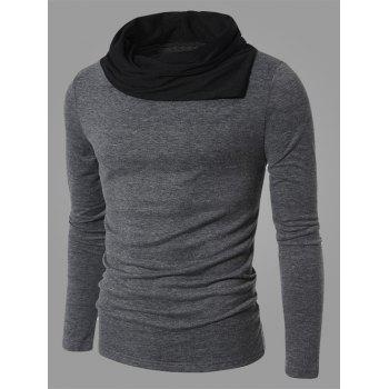 Cowl Neck Long Sleeve Color Splicing T-Shirt