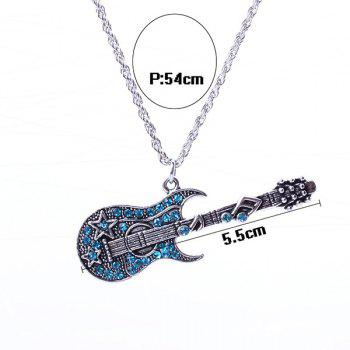 Guitar Rhinestone Sweater Chain - ICE BLUE