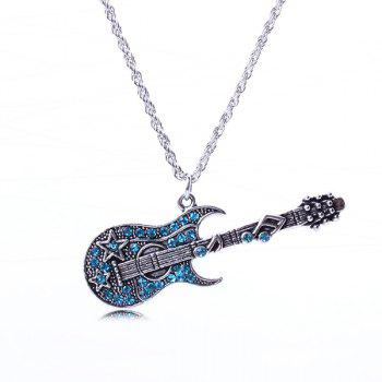 Guitar Rhinestone Sweater Chain - ICE BLUE ICE BLUE