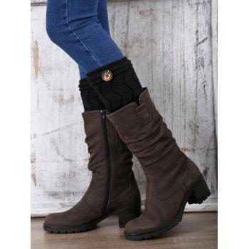 Casual Button Letter W Shape Knitted Boot Cuffs - BLACK BLACK