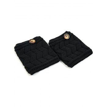 Casual Button Letter W Shape Knitted Boot Cuffs -  BLACK
