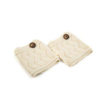 Casual Button Letter W Shape Knitted Boot Cuffs -  WHITE