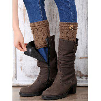 Casual Button Letter W Shape Knitted Boot Cuffs