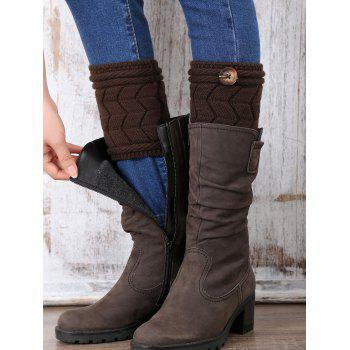 Casual Button Letter W Shape Knitted Boot Cuffs - CHOCOLATE CHOCOLATE