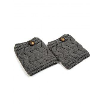 Casual Button Letter W Shape Knitted Boot Cuffs -  DEEP GRAY