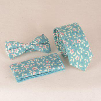 A Set of Flowers Leaves Pattern Tie Pocket Square Bow Tie