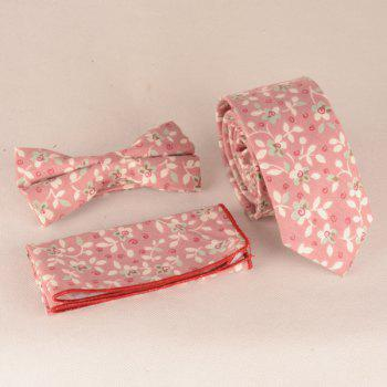 A Set of Tiny Flowers Leaves Pattern Tie Pocket Square Bow Tie