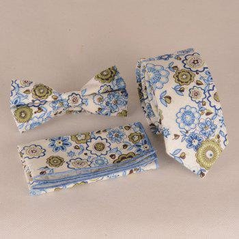A Set of Flowers Print Tie Pocket Square Bow Tie