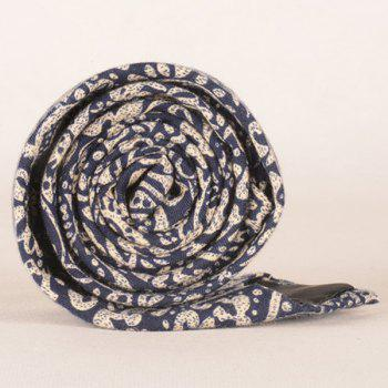 A Set of Paisley Pattern Tie Pocket Square Bow Tie - CADETBLUE