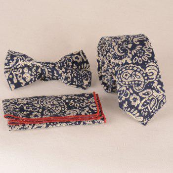 A Set of Paisley Pattern Tie Pocket Square Bow Tie