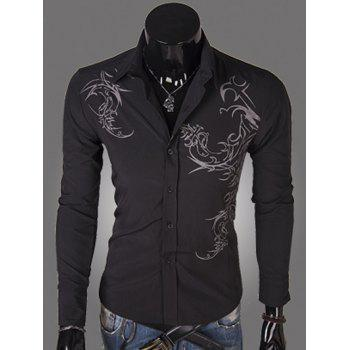 Turn-down Collar Long Sleeve Tattoo Print Shirt
