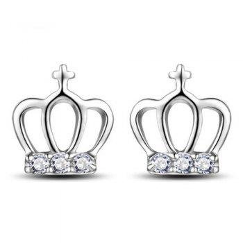 Rhinestone Crown Cross Stud Earrings