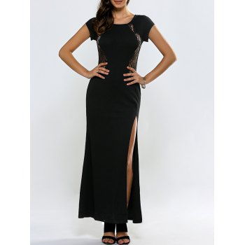 Lace Panel See Thru Slit Maxi Formal Dress