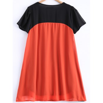 Pleated Color Patchwork Chiffon Smock Dress - BLACK/ORANGE XL