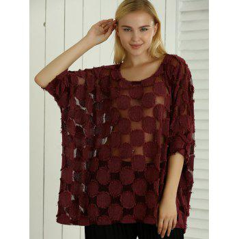 Batwing Sleeve See-Through ample Blouse - Vin rouge ONE SIZE
