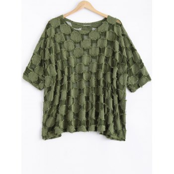 Batwing Sleeve See-Through Loose-Fitting Blouse