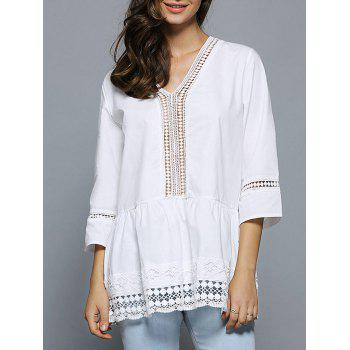 V-Neck Lace Splicing Hollow Out Blouse