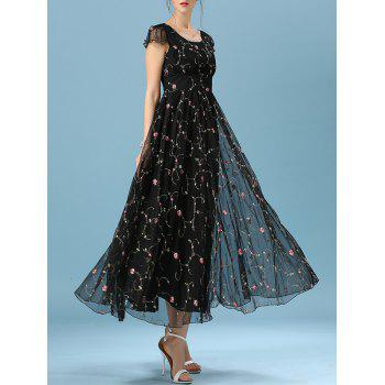 Floral Embroidered Cape Sleeve Mesh Spliced Full Dress
