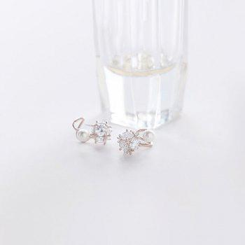 Pair of Faux Pearl Zircon Earrings