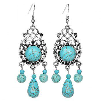 Pair of Boho Style Faux Turquoise Earrings