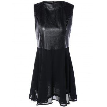 Chiffon Spliced PU Leather High Waist Dress