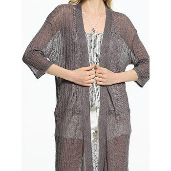 See Through Ribbed Long Cardigan