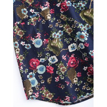 Flowers Print Front Pockets Shirt - M M