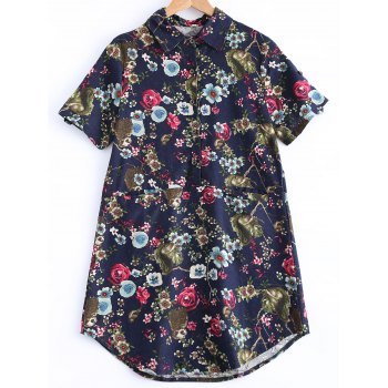 Flowers Print Front Pockets Shirt - PURPLISH BLUE M