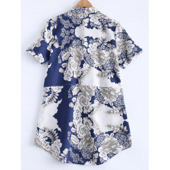 Flowers Print Front Pockets Shirt - WHITE WHITE