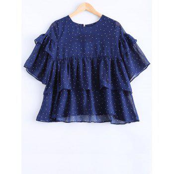 Long Sleeve Polka Dot Flounced Chiffon Blouse - PURPLISH BLUE XL